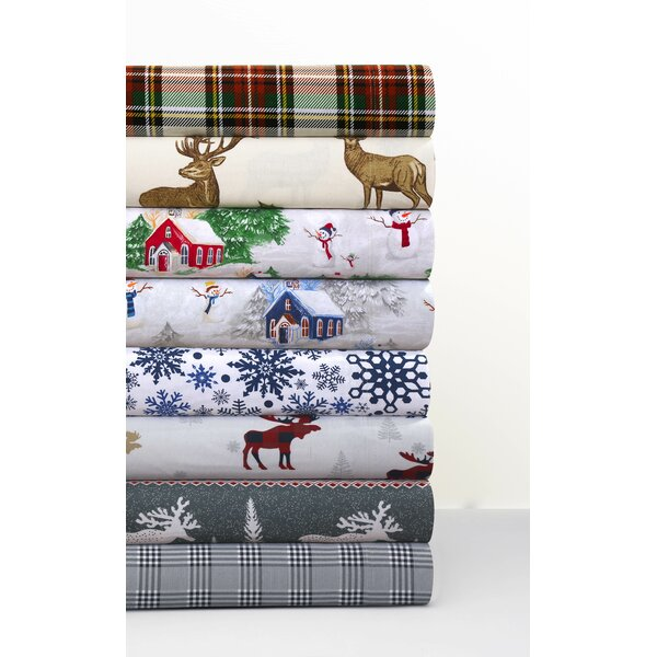 Winter Reindeer 170-GSM Printed Flannel Extra Deep Pocket 100% Cotton Sheet Set by The Holiday Aisle
